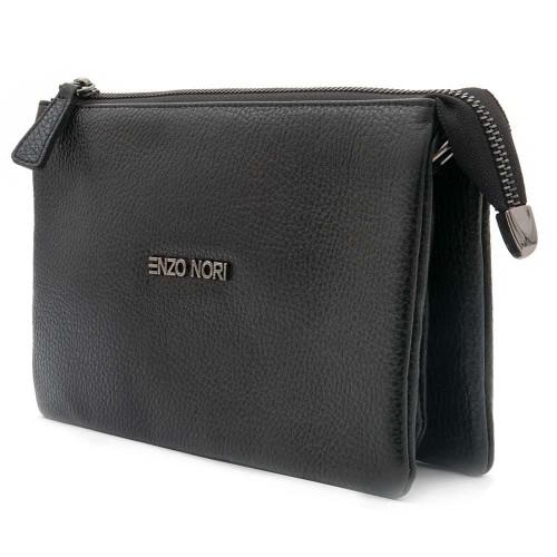 Малка дамска чанта от естествена фина напа кожа ENZO NORI модел ALINA цвят черен