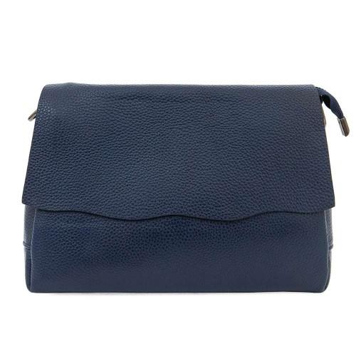 Елегнантна дамска чанта от естествена кожа ENZO NORI модел BETTY цвят тъмно син