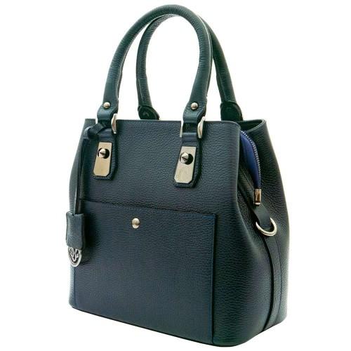 Красива дамска чанта от естествена кожа ENZO NORI модел VIVIAN цвят тъмно син