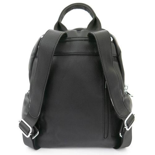 Дамска раница чанта висококачествена еко кожа  текстилна подплата PAULA VENTI модел SIENA цвят черен