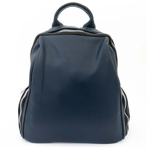 Дамска раница чанта висококачествена еко кожа  текстилна подплата PAULA VENTI модел SIENA цвят син
