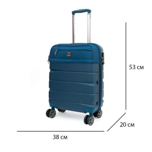 Куфар за кабина с отделение за лаптоп от текстил с ABS ENZO NORI модел MIX 53 см син на 4 колелца