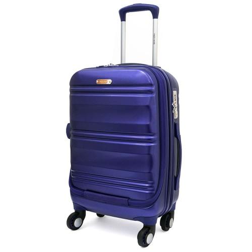Куфар за ръчен багаж ENZO NORI модел GRANITE 56 см с 4 колелца поликарбонат син