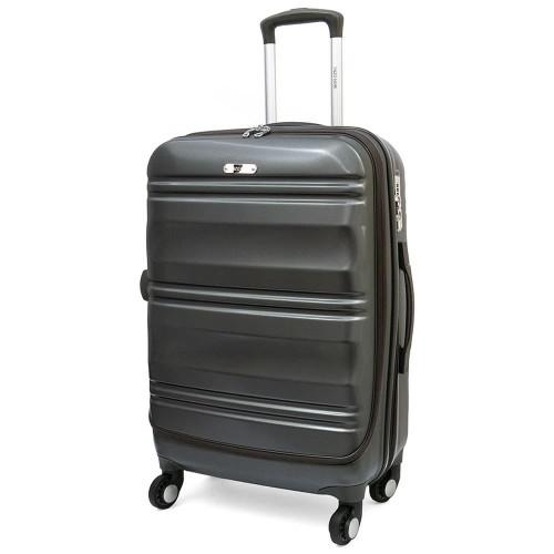 Стилен куфар модел GRANITE 66 см ENZO NORI спинер с 4 колелца поликарбонат сив