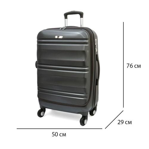 Голям размер куфар от поликарбонат ENZO NORI модел GRANITE 76 см с TSA заключване 4 колелца сив