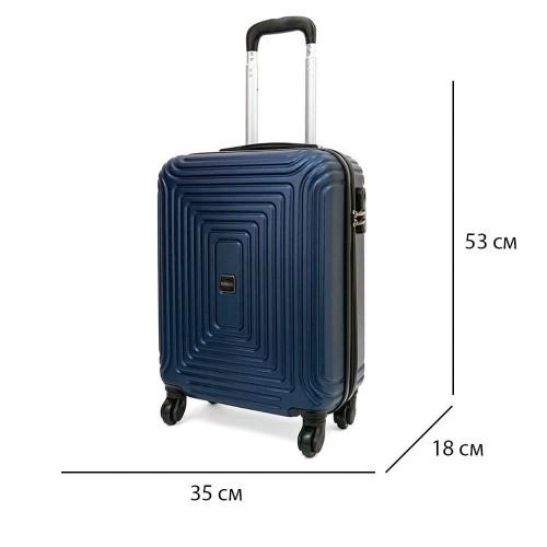 Издръжливи 3 броя куфари комплект от ABS модел HAVANA с 4 двойни силиконови колелца цвят син