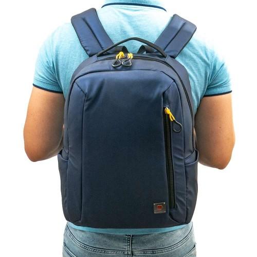 Раница за лаптоп раница за училище модел VERSUS цвят син преливащ