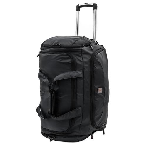 Пътна непромокаема чанта с покритие от еко кожа тип сак с телескопична дръжка и колелца ENZO NORI модел HEFTY цвят черен