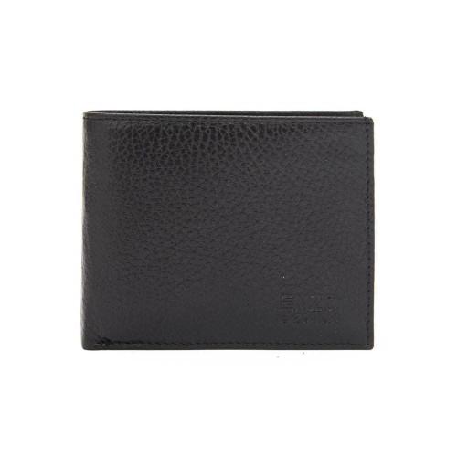 Класически мъжки портфейл от естествена грапава кожа ENZO NORI модел OLIVER цвят черен-червен