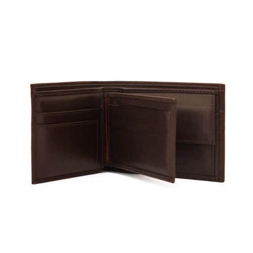 Стилен мъжки портфейл от естествена кожа ENZO NORI модел OLIVER цвят тъмно кафяв