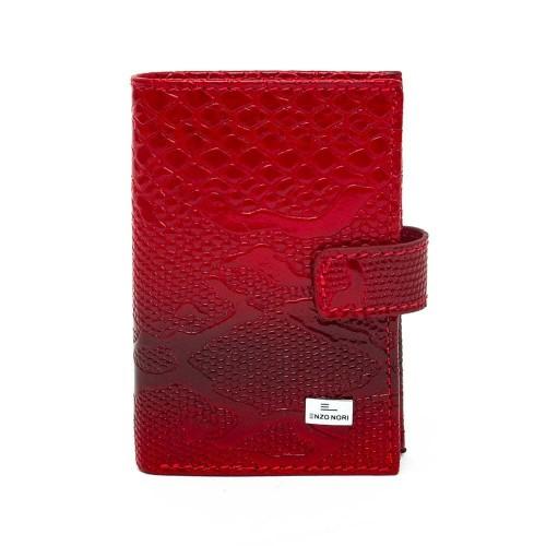 Визитник и калъф за документи от естествена кожа ENZO NORI модел CARDS с механично отделение за карти цвят червен лак