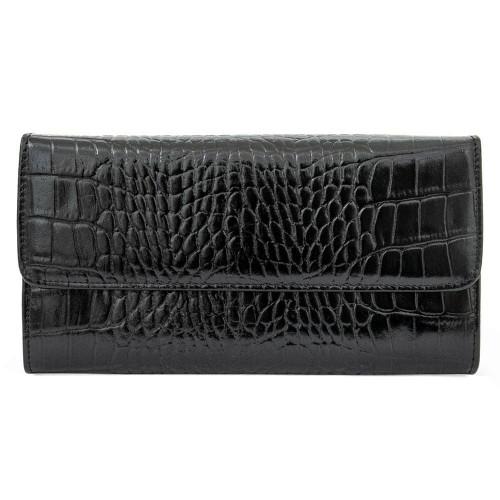 Работно портмоне от висококачествена естествена кожа ENZO NORI модел MILLION цвят черен кроко
