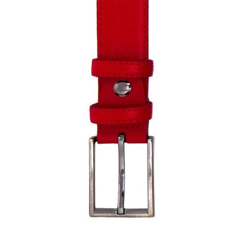 Висококачествен дамски колан от естествена кожа ENZO NORI с тока с игла цвят червен