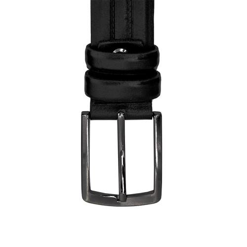 Мъжки колан от естествена кожа ENZO NORI ENK109 с класическа тока с игла черен