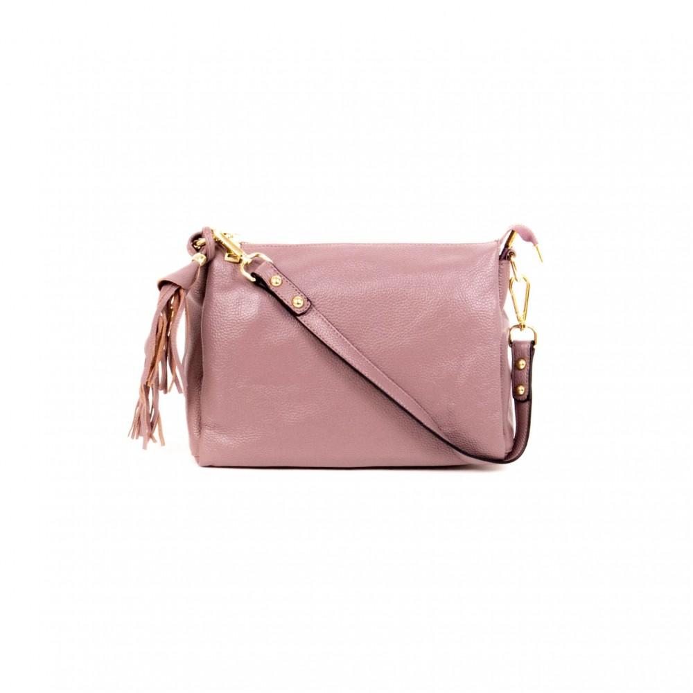 Дамска чанта PAULA VENTI от естествена кожа модел BELLS с подвижна кожена  дълга дръжка цвят лилав
