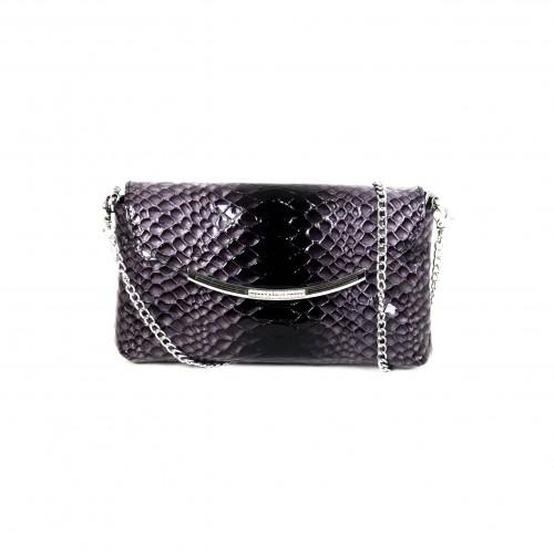 Стилна бална дамска чанта PAULA VENTI от естествена кожа с дълга дръжка тип верижка модел DIAMOND цвят лилаво кроко