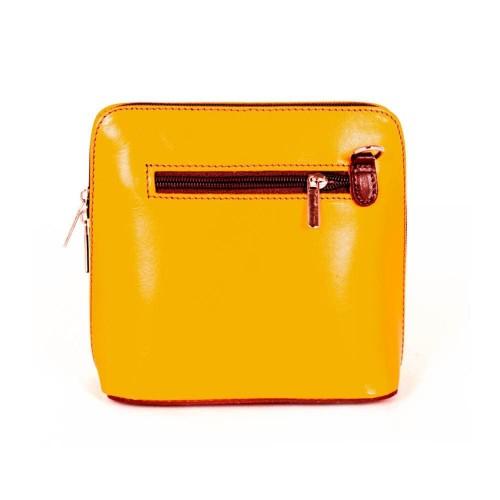 Малка дамска чанта от италианска естествена кожа модел CALDO с дълга дръжка цвят жълт