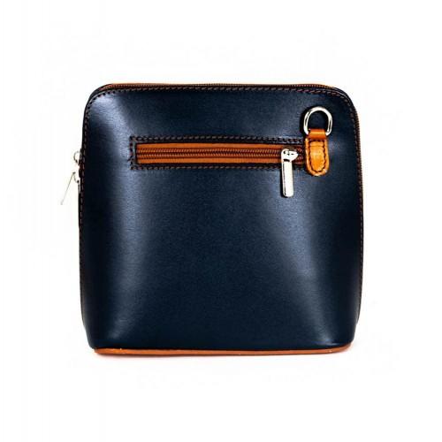 Малка дамска чанта от италианска естествена кожа модел CALDO с дълга кафява дръжка цвят тъмно син