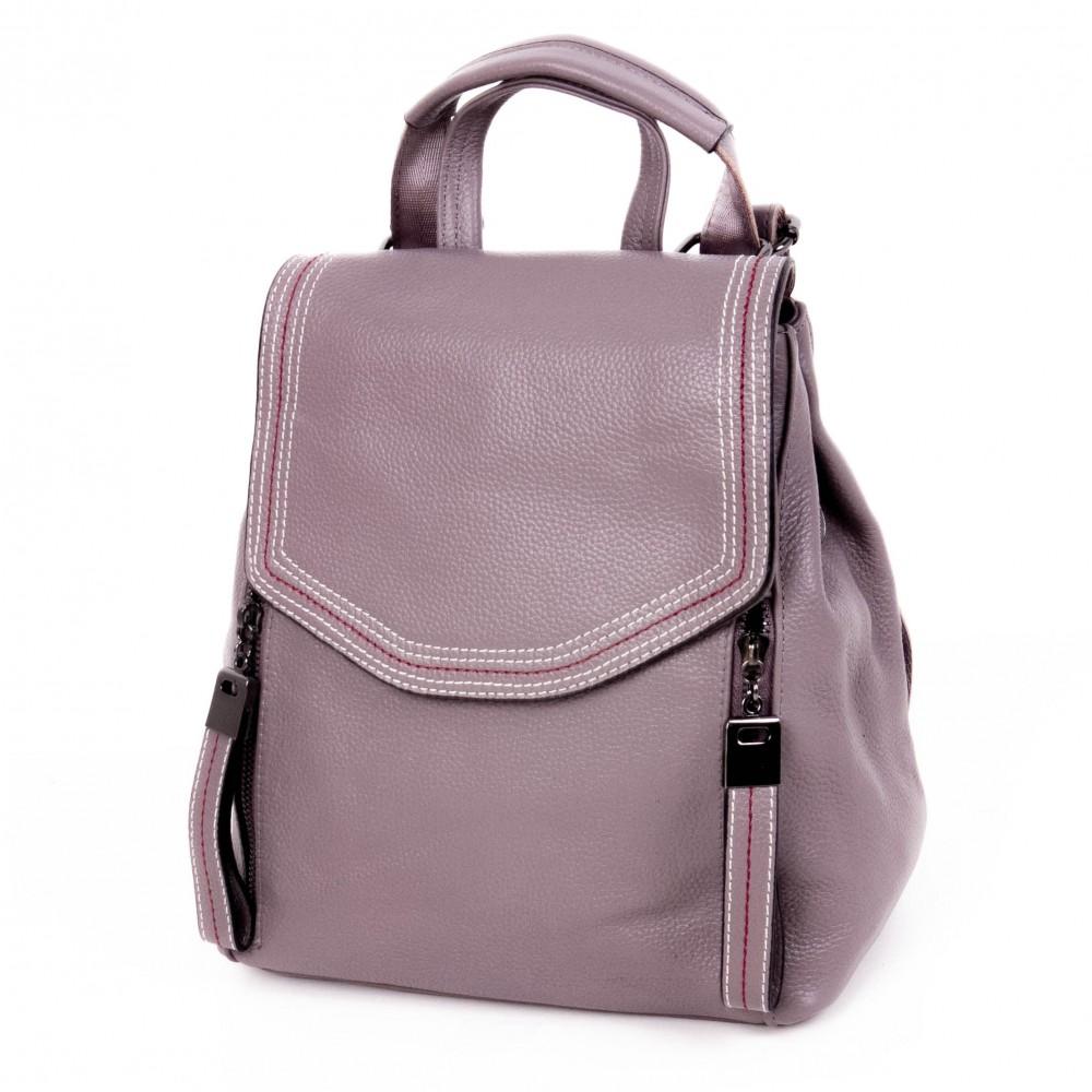 Дамска раница Paula Venti изработена от висококачествена естествена кожа модел SHORE цвят лилав