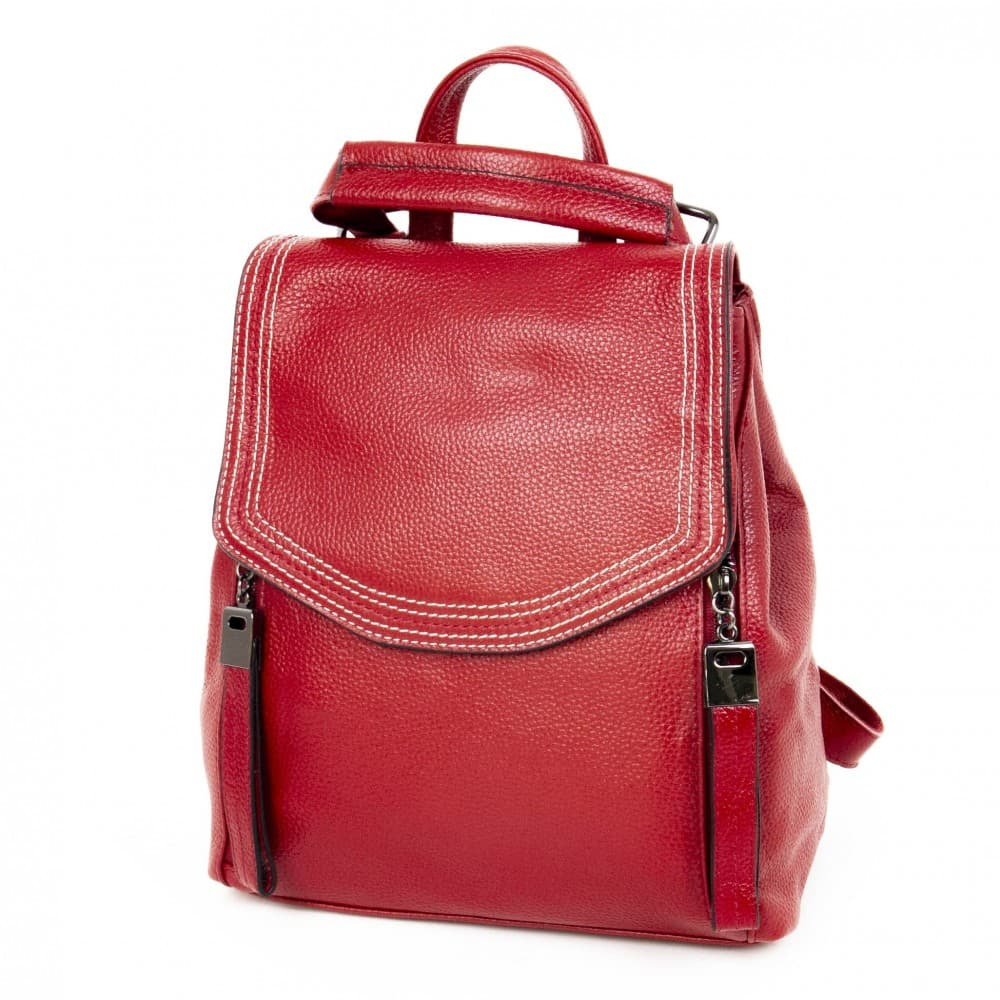 Дамска раница Paula Venti изработена от висококачествена естествена кожа модел SHORE цвят червен