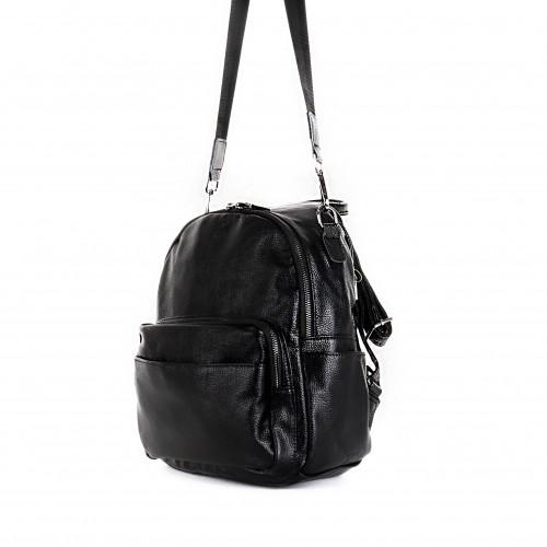 Кожена дамска раница Paula Venti модел FEEL високо качество еко кожа цвят черен