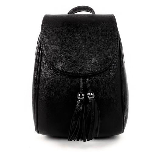 Нежна дамска раница Paula Venti модел SHAPE от висококачествена еко кожа цвят черен