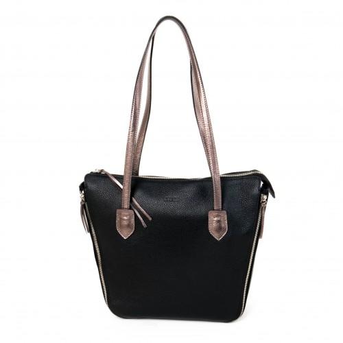 Луксозна дамска чанта на италианската марка GIUDI от естествена кожа модел V Style цвят черен 11078