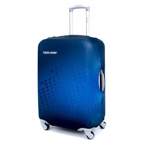 Калъф за куфар ENZO NORI модел AIRPLANE размер L  еластичен   текстил с отвори за дръжките на куфара