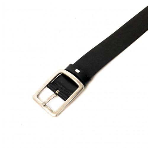 Колан от естествена кожа ENZO NORI цвят черен със сребриста тока тип класическа игла ENK023