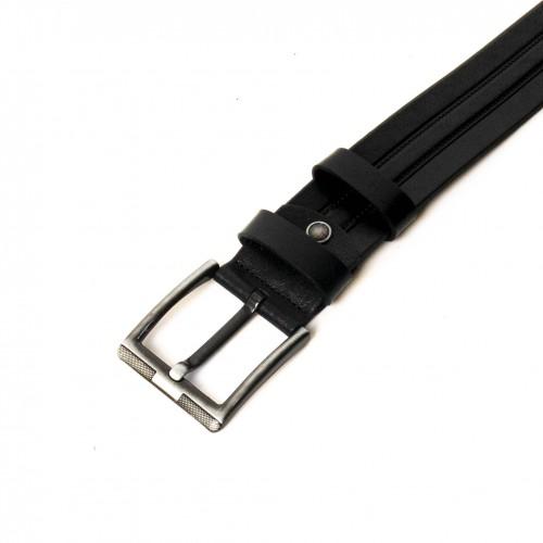 Колан от естествена кожа ENZO NORI цвят черен със сребриста тока тип класическа игла ENK281
