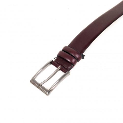 Колан от естествена кожа ENZO NORI цвят бордо със сребриста тока тип класическа игла ENK300