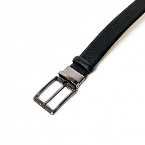 Колан от естествена кожа ENZO NORI цвят черен със сребриста тока тип класическа игла ENK489