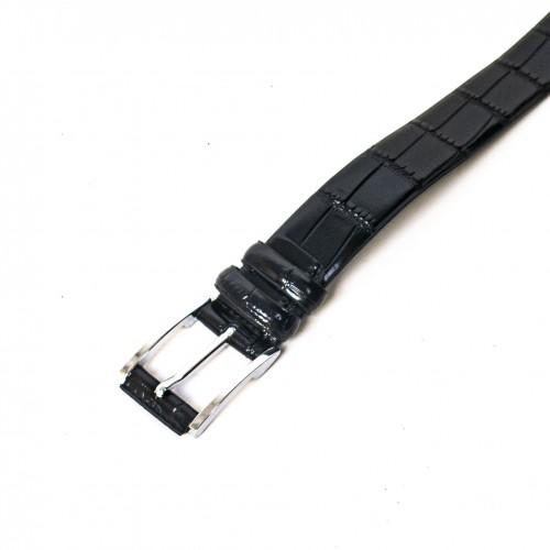 Колан от естествена кожа ENZO NORI цвят черен със сребриста тока тип класическа игла ENK93