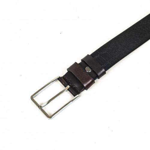 Колан от естествена кожа ENZO NORI цвят тъмнокафяв със сребриста тока тип класическа игла ENK95