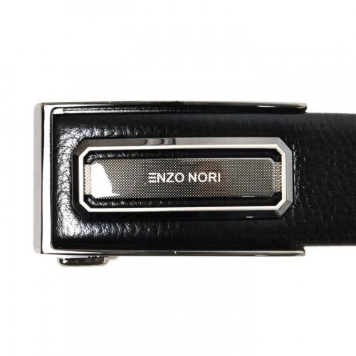 Колан от естествена кожа ENZO NORI с оксидирана автоматична тока ENK051 цвят черен