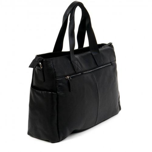 Стилна мъжка пътна чанта ЕNZO NORI изработена от 100% естествена кожа модел AVENUE цвят черен
