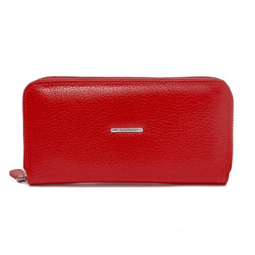 Голямо дамско портмоне с цип ENZO NORI модел GAIA от естествена кожа цвят червен