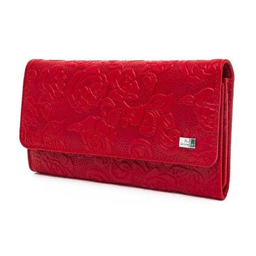 Голямо дамско портмоне от естествена кожа ENZO NORI модел ELEGANTE цвят червени рози