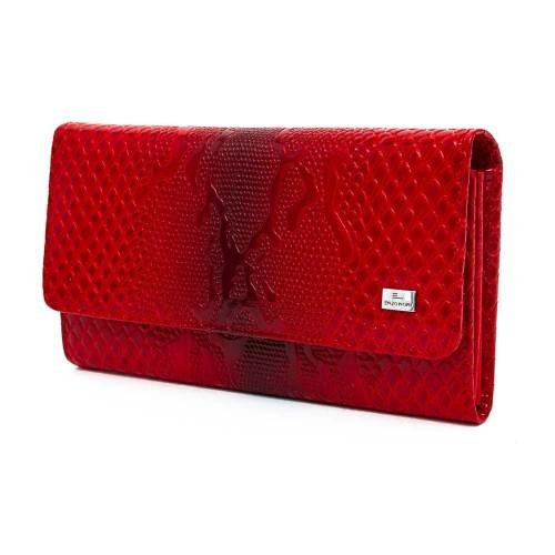 Голямо дамско портмоне от естествена кожа ENZO NORI модел ELEGANTE цвят червен лак