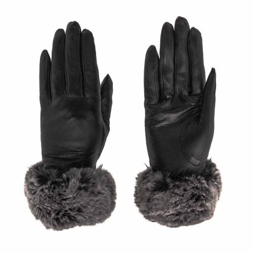Авангардни дамски ръкавици с пух PAULA VENTI модел PVG1051.1 естествена кожа цвят черен