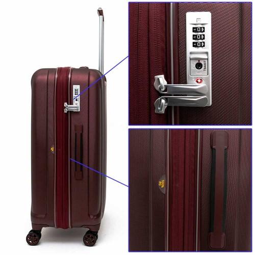 Луксозен твърд куфар от поликарбонат с разширение ENZO NORI модел PRIDE 68 см спинер цвят бордо