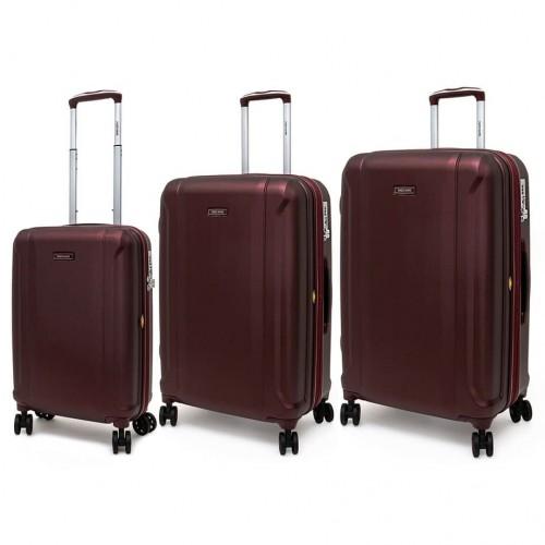 Комплект от 3 размера луксозни куфари от поликарбонат ENZO NORI модел PRIDE цвят бордо