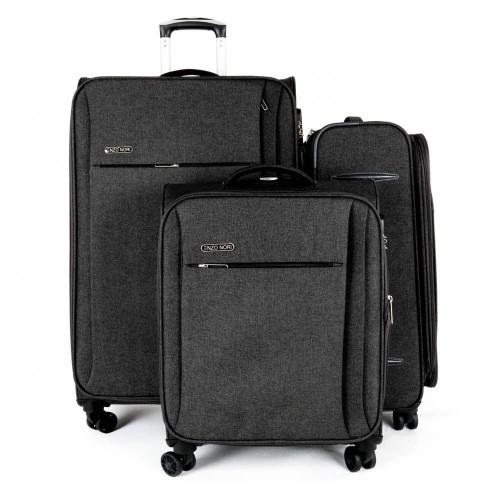 Комплект куфари 3 различни размера текстил ENZO NORI модел SOFT с включен размер за ръчен багаж цвят черен