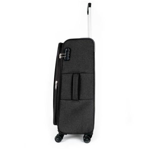 Мек куфар от текстил марка ENZO NORI модел SOFT 77 см с разширение цвят черен