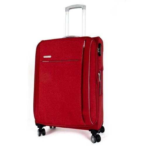Мек куфар от текстил ENZO NORI модел SOFT комплект от 3 размера с включен размер за ръчен багаж цвят червен
