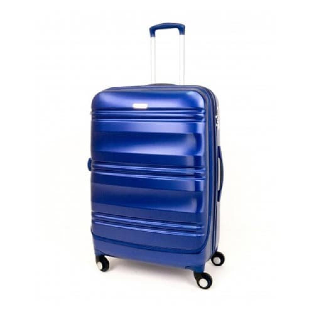 Куфар ENZO NORI модел GRANITE 56 см за ръчен багаж с 4 колелца поликарбонат син