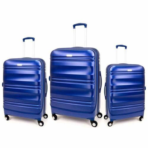 Луксозен комплект куфари от поликарбонат 3 размера ENZO NORI модел GRANITE цвят син