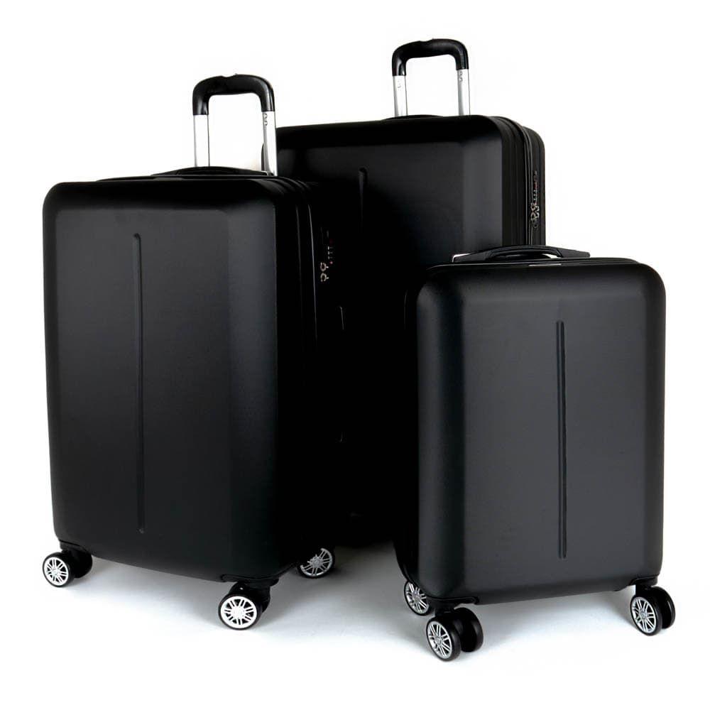 Твърд куфар от ABS марка ENZO NORI модел SUMMER комплект от 3 размера цвят черен