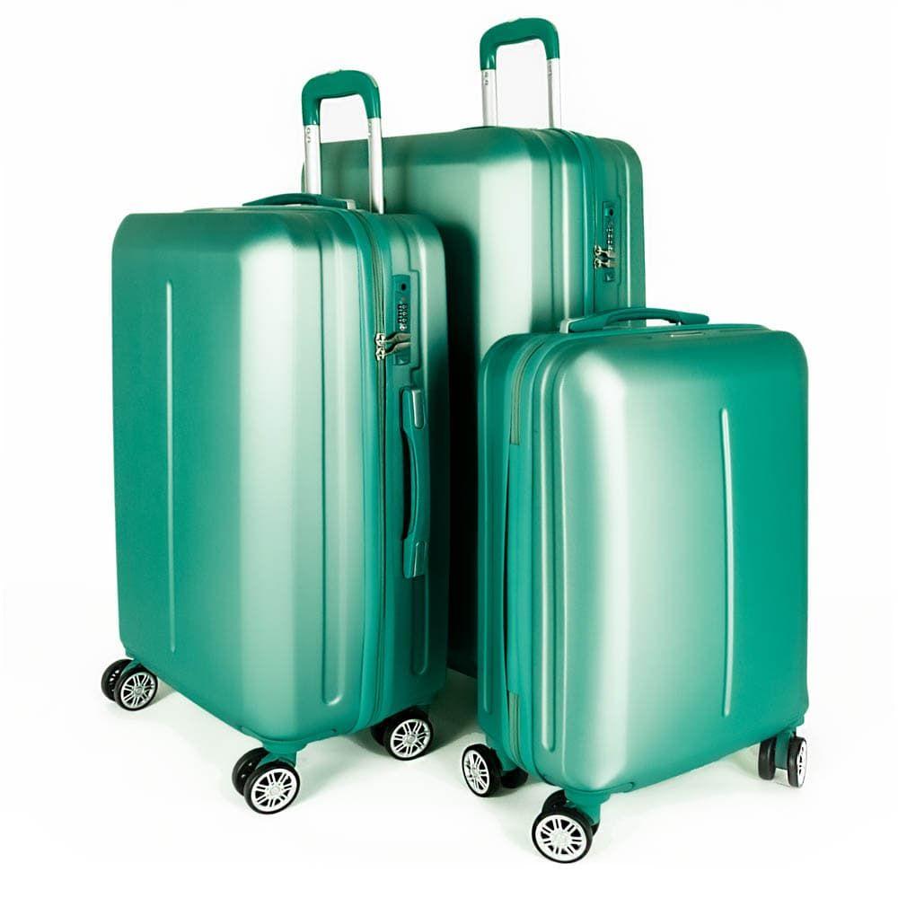 Твърд куфар от ABS марка ENZO NORI модел SUMMER комплект от 3 размера цвят зелен