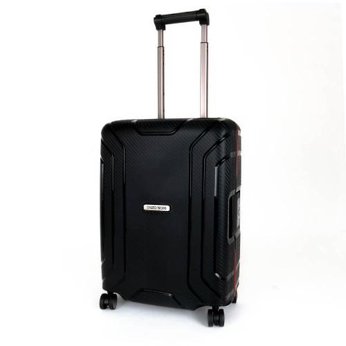 Луксозен твърд куфар от полипропилен със закопчалки за ръчен багаж ENZO NORI модел PRIME 54 см черен